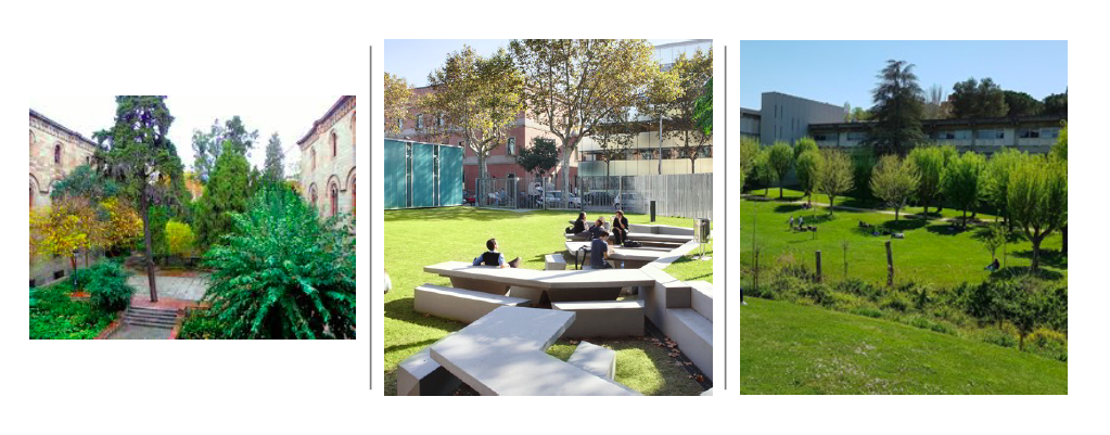 Jardines de tres universidades de Barcelona